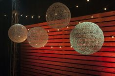 String lights and hanging string balls
