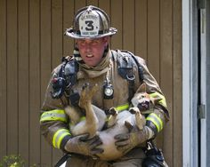 Maryland firefighter rescues dog from house fire.