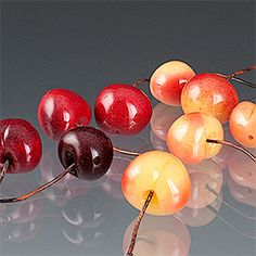Glass cherries by Elizabeth Johnson.