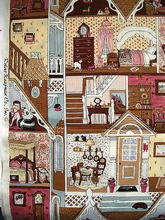 DOLLHOUSE quilt fabric remnant cotton dolls  Robert Kaufman Applique Quilt Patterns, Doll Patterns, Panel Quilts, Quilt Blocks, Dollhouse Quilt, House Quilts, Doll Quilt, Sewing Appliques, Fabric Remnants