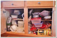 13 Clever Ways to Get Your Tupperware Collection Under Control - cabinet organization Under Shelf Storage, Lid Storage, Cupboard Storage, Storage Cabinets, Kitchen Storage, Storage Ideas, Kitchen Cabinets, Organization Ideas, Kitchen Cupboard