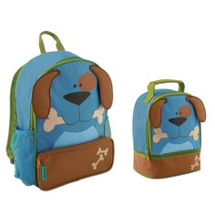 Stephen Joseph Sidekick Puppy Dog Backpack and Lunch Pal - Cute Boys Backpacks. Cute Puppy Dog Backpack and Lunch Box designed for kids in preschool through the 2nd grade. Backpack has roomy interior that is big enough to hold books and folders. Has a front zippered pouch for extra storage. Two mesh side pockets for drinks or markers. Front pouch for extra storage. Adjustable cushioned shoulder straps with sturdy carrying handle. Durable canvas construction that is easy to clean. The…