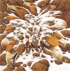"""Bev Doolittle """"MANY EAGLES"""" There is an indian in the middle of all the eagles"""