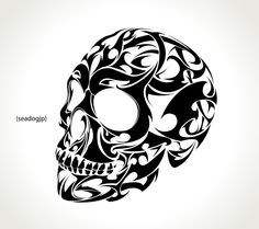 Tribal Skull Tattoo vector design - Buy this stock vector and explore similar vectors at Adobe Stock Skull Tattoos, Body Art Tattoos, Tribal Tattoos, Sleeve Tattoos, Tribal Drawings, Skull Stencil, Skull Art, Stix And Stones, Shetland