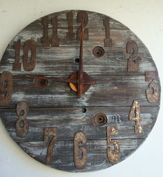 34 inch wood spool clock- Fully customizable Numbers and color