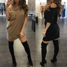 Trendy One Shoulder Cut Out Casual Dress