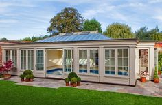 Glazed pool house with roof lantern