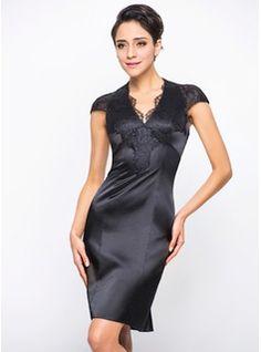 Sheath/Column V-neck Knee-Length Charmeuse Lace Cocktail Dress (016055960) - JJsHouse