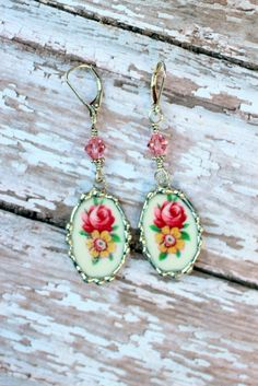 Broken China Jewelry Earrings Floral China by Robinsnestcreation1, $45.00