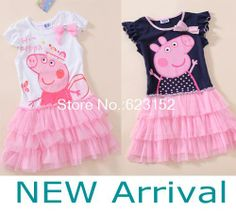 FREE SHIPPINGA 5pcs/lot Pink Cartoon Peppa pig yarn dress children dress yarns 100% cotton girls onepiece Long & short sleeve $49.41