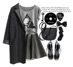 """""""Hello Darkness"""" by leilaaudrinae ❤ liked on Polyvore featuring MSGM, Dr. Martens, Merona and Advantus"""