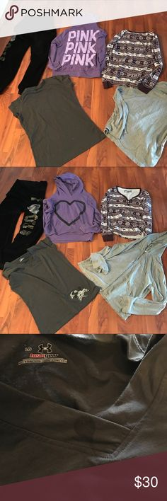 Vs Pink & 1 Under Armour Top Lot Sz L Selling a lot of Victoria Secret Pink lots for a friend so please bare with me as I post. This lot is a Sz L in good preowned condition, so please know they are not new. May have some flaws( dark grayish Under Armour shirt has a spot looks like a pop spot not sure & purple hoodie don't have a drawstring) she didn't mention any,pictures were emailed to me,friend is in the military so will be picking items up from her mom when it sells.Bundle & Save! Tops