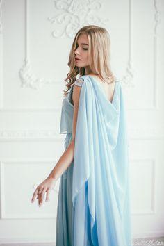 Sky blue chiffon wedding gown / Colored wedding by LiluBridal