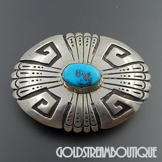 NATIVE AMERICAN THOMAS TOMMY SINGER (d.) STERLING SILVER OVERLAY TURQUOISE OVAL BELT BUCKLE