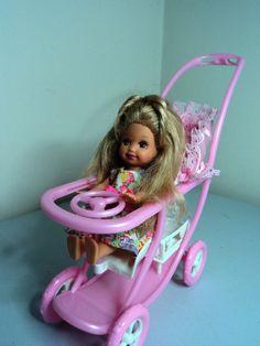 Mattel BARBIE baby sister KELLY Doll in stroller pram has steering wheel & tray  #Barbie