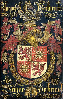 Pierre Coustain - Anonymous (attributed to Pierre Coustain). Hatchment of Jacob Luxembourg (after 1441-1488), Lord of Fiennes, in his capacity as a knight in the Order of the Golden Fleece. Ca. 1481. Rijksmuseum Amsterdam