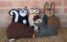 Primitive stuffed animal Forest Critters, via Etsy.