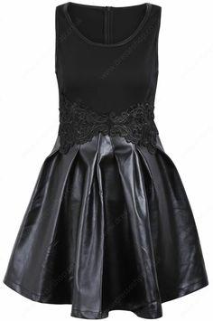 Black Sleeveless Contrast PU Leather Applique Dress