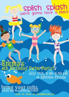 Splish Splash Party invite download FREE!! Super cute for Summer Birthdays!