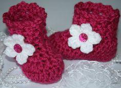 Crochet fuchsia baby girl boots baby girl booties by tweetotshop