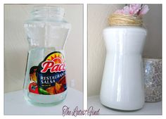 How to re-use your empty food jars by turning them into pretty decor! I'd use this for sugar or tea bags. So cute!