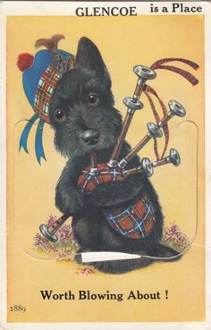 1930-40 Scotch Terrier With Tartan Tam by Museumofantiquepaper