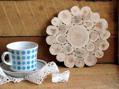 Juniper Wood Trivet, Flower, Natural Handmade Coaster, Rustic Home Wedding…