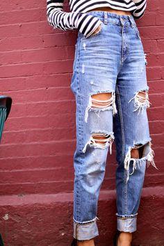 High Waist Distressed Boyfriend Jeans ALL SIZES by EverRad - - High Waist Distressed Boyfriend Jeans ALL SIZES by EverRad minimalist fashion casual fashion jeans skinny jeans ripped jeans. Outfit Jeans, Outfit Chic, Lässigen Jeans, Cute Jeans, Casual Jeans, Ripped Mom Jeans, 90s Jeans, Distressed Jeans Outfit, High Waisted Distressed Jeans