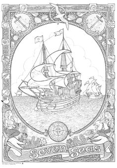 Giant Coloring Books for Adults - 21 Giant Coloring Books for Adults , Items Similar to Calendar 2017 Color Coloring Book for Adults and Big Kids Coloring Pages 12 Adult Coloring Pages, Colouring Pics, Printable Coloring Pages, Free Coloring, Coloring Sheets, Coloring Books, Adult Color By Number, Party Fiesta, Ship Drawing