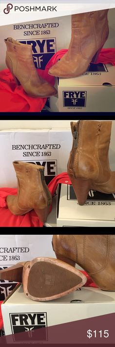 Frye Regina heel bootie in camel color sz 7.5 EUC Frye Regina Heel Bootie Camel colored Leather. Women's Back Zip Ankle Boot in a size 7.5 M. Super cute booties! Heel measures approx. 4 inches. Very very light wear including minor creasing and wear to the bottom sole. Nothing that affects condition or use of shoe. They are 2 wears away from being NIB. Will come with original box. Frye Shoes Ankle Boots & Booties