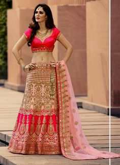 Dainty Hot Pink Designer A Line Lehenga Choli