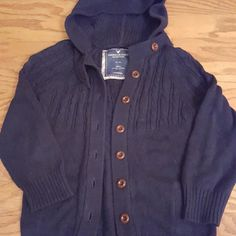 Hooded sweater AE *Reduced * Navy hooded sweater American Eagle Outfitters Sweaters Cardigans