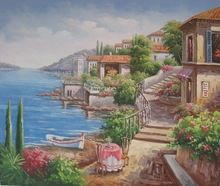 La decoración del hogar hermoso paisaje <span class=keywords><strong>pintura</strong></span> mural de estilo <span class=keywords><strong>mediterráneo</strong></span> seascape