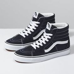 Shop Women's Vans Black White size Sneakers at a discounted price at Poshmark. Description: Vans classic high top shoes Gently worn but in great condition ! Women's / Men's Sold by itsnatyo. Black And White Vans, Black High Tops, High Top Vans, High Top Sneakers, Vans Sneakers, Vans Shoes, Sneakers Fashion, Adidas Shoes, Converse