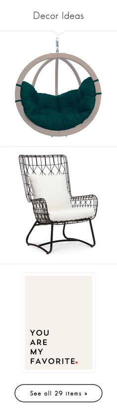 """""""Decor Ideas"""" by cocula ❤ liked on Polyvore featuring home, outdoors, patio furniture, hammocks & swings, hanging garden chair, outdoor chairs, chairs, furniture, interior and palecek outdoor furniture"""