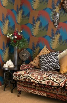Deco Palm Wallpaper from the Geometric II Wallpaper Collection from Cole & Son, with a palm motif printed in russet, blue, brown and green. Cole And Son Wallpaper, Palm Wallpaper, Print Wallpaper, Contemporary Wallpaper, Inspirational Wallpapers, Complimentary Colors, Home And Deco, Decoration, Boho Decor