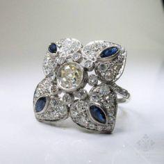 Antique Art Deco Platinum Diamond Sapphire Ring | eBay