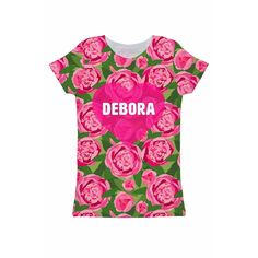 Pink Vibes Customized NAME Zoe Floral Print Tee