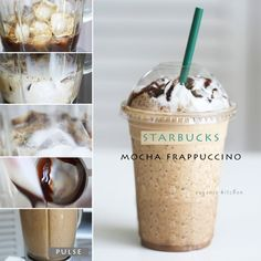 Starbucks Mocha Frappuccino - using only a few ingredients, you can whip up this copycat recipe at home in only a couple of minutes and save a lot of money - via Eugenie Kitchen