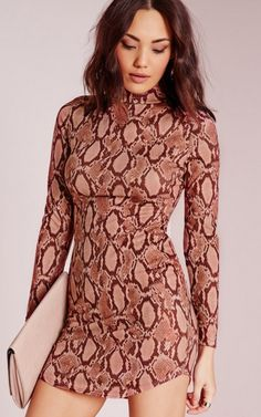 High Neck Curve Hem Snakeskin Bodycon Dress Rose