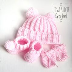 Crochet Baby Hat booties and mitts free patterns Easy Crochet Baby Hat, Crochet Baby Hats Free Pattern, Baby Booties Free Pattern, Crochet Baby Hat Patterns, Crochet Bebe, Baby Girl Crochet, Crochet Baby Clothes, Free Crochet, Crochet Hats