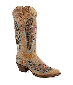 Corral Boots Blue Jean Wing And Heart Boots | Dillards.com