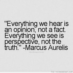 Everything we hear is an opinion, not a fact. Everything we see is perspective, not the truth. - Marcus Aurelis