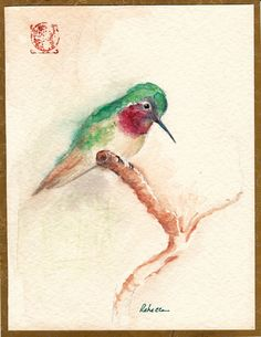 KOTORI  Original Hummingbird Watercolor Painting by by BeccasPlace