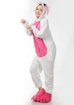 LIHAO Rosa Hase Onesie Pyjamas Schlafanzug unisex Erwachsene Nachtwäsche Anime Cosplay Halloween Kostüm Kleidung Tier