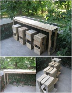 30 DIY Pallet Outdoor Furniture You Need to See Out of all repurposed wood projects, DIY pallet outd Repurposed Wood Projects, Outdoor Pallet Projects, Pallet Crafts, Pallet Ideas, Pallet Bar, Pallet Tables, Diy Crafts, Rustic Outdoor Furniture, Reclaimed Wood Furniture