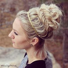 Messy Fishtail Braids into a Bun
