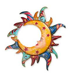 Talavera-Style Moon in Sun Metal Wall Art