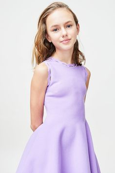 Simple yet cute in every way, this dress has a crew neckline and a fit and flare structure. The fun zig zag detail adds some flair to this sweet Viscose, Pbt, SpandexDry clean Girls Dresses Tween, Girly Girl Outfits, Cute Little Girl Dresses, Cute Young Girl, Beautiful Little Girls, Pretty Dresses, Cute Little Girls, Young Girl Fashion, Preteen Girls Fashion
