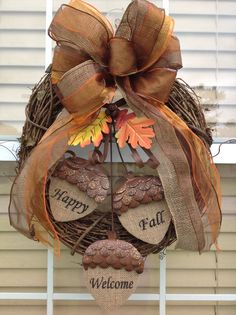 Fall / Autumn Grapevine Wreath with Burlap Acorns and Burlap and Sheer Ribbon via Etsy